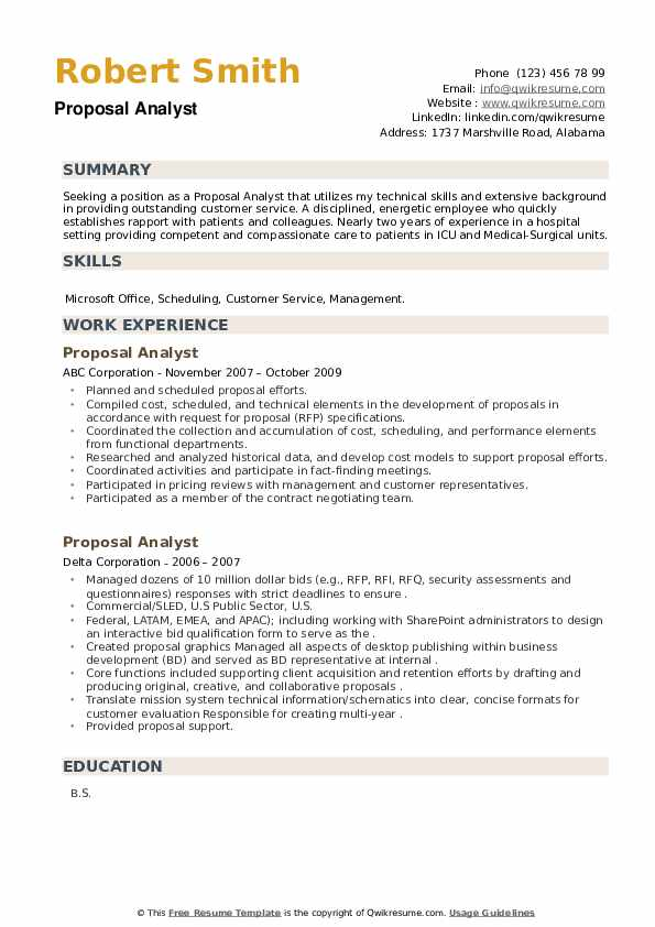 Proposal Analyst Resume example