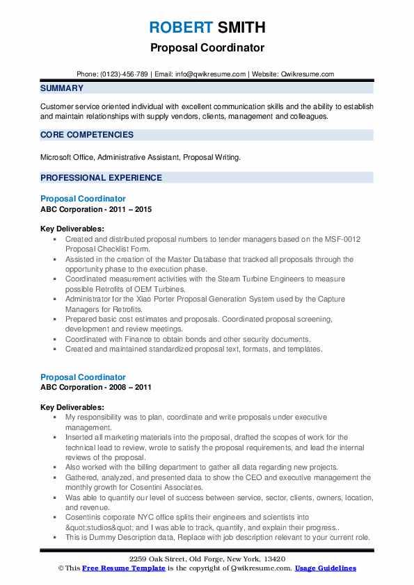 Proposal Coordinator Resume example