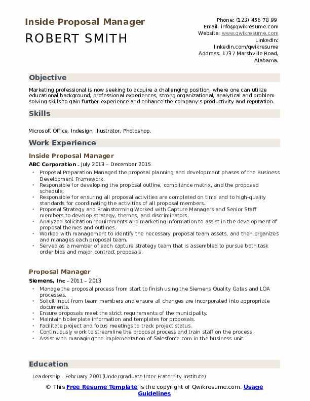 Inside Proposal Manager Resume Model