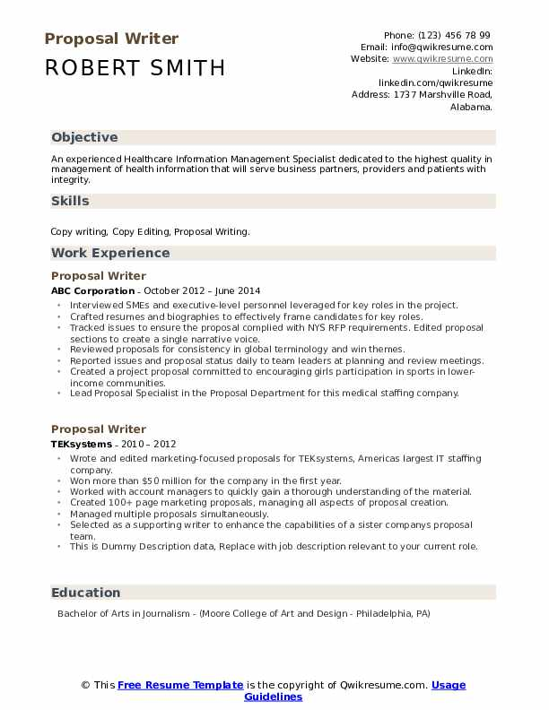 Proposal Writer Resume example