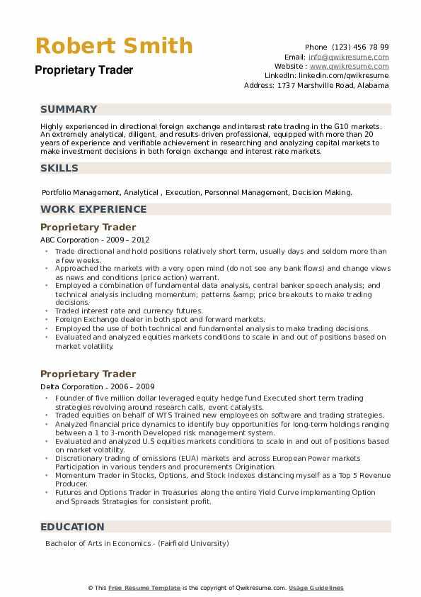 Proprietary Trader Resume example