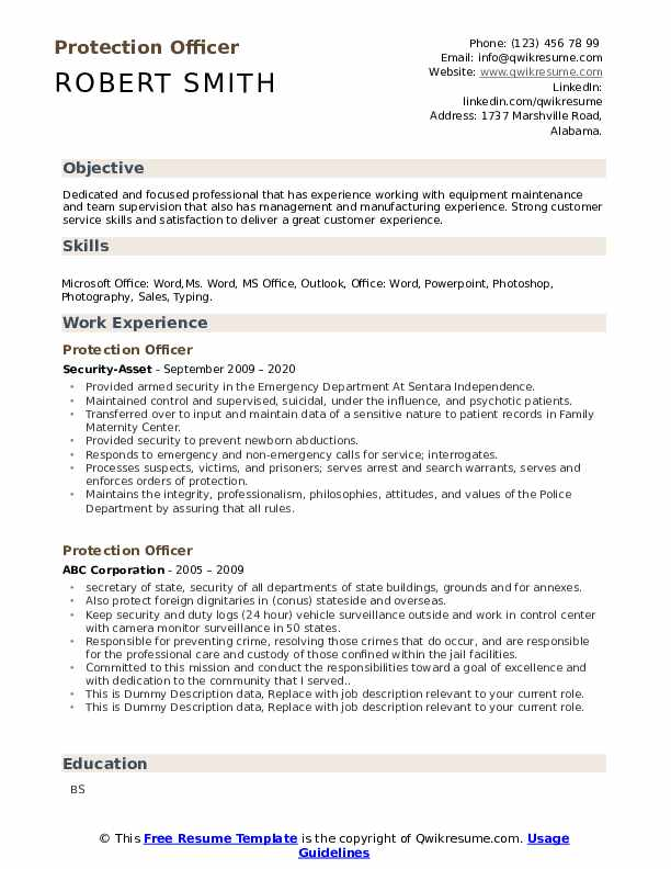 Protection Officer Resume example