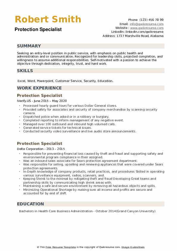 Protection Specialist Resume example