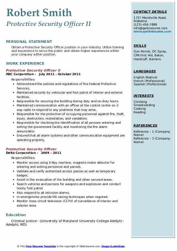 Protective Security Officer Resume Samples Qwikresume
