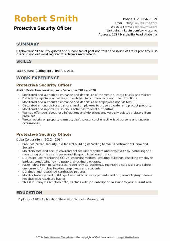 Protective Security Officer Resume example