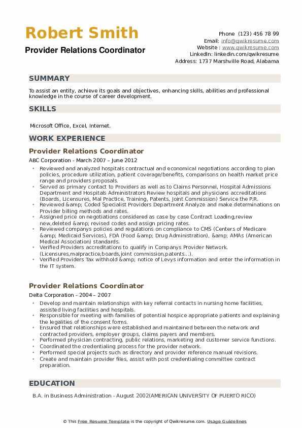 Provider Relations Coordinator Resume example