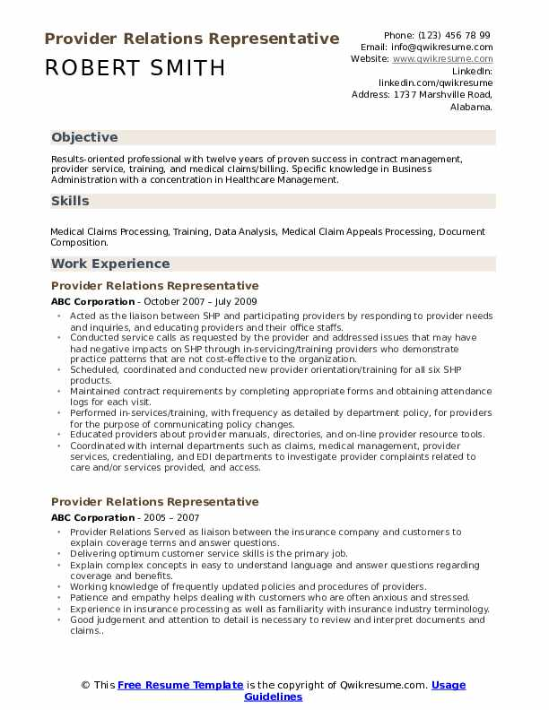 Provider Relations Representative Resume Example
