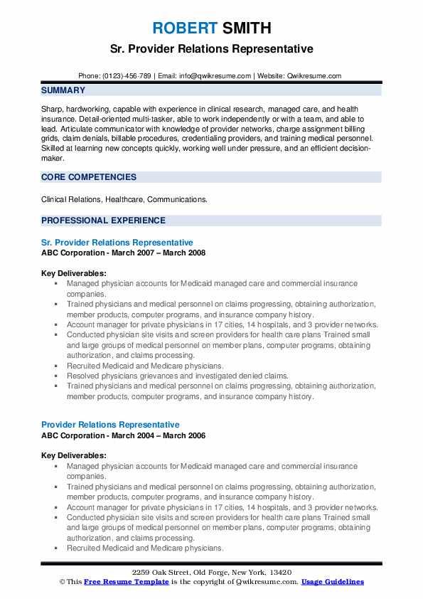 Sr. Provider Relations Representative Resume Template