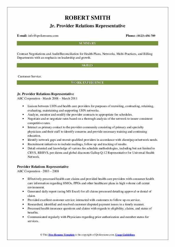 Jr. Provider Relations Representative Resume Format