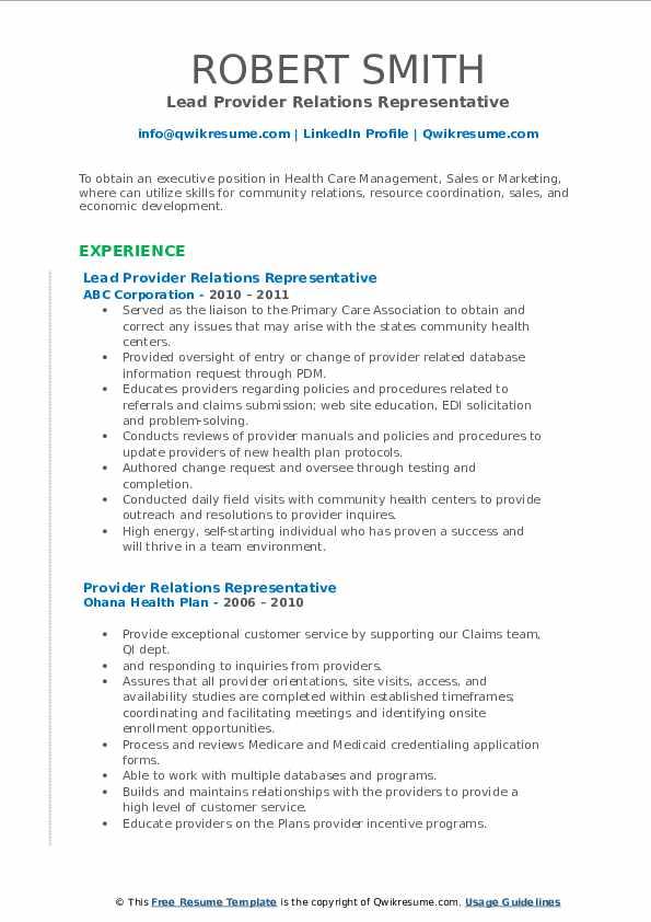 Lead Provider Relations Representative Resume Sample