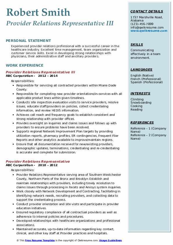 Provider Relations Representative III Resume Sample