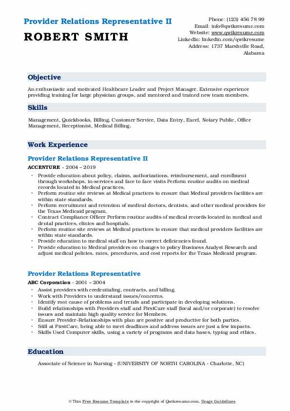 Provider Relations Representative II Resume Example