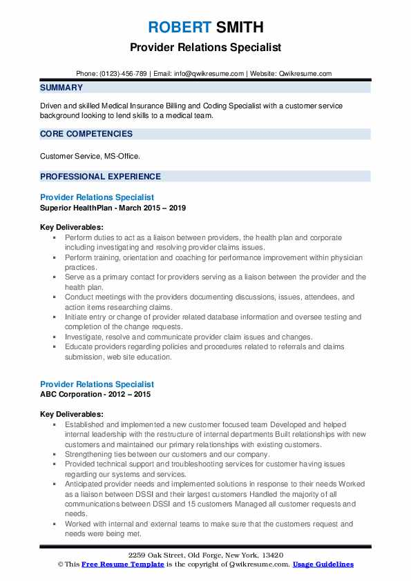 Provider Relations Specialist Resume example