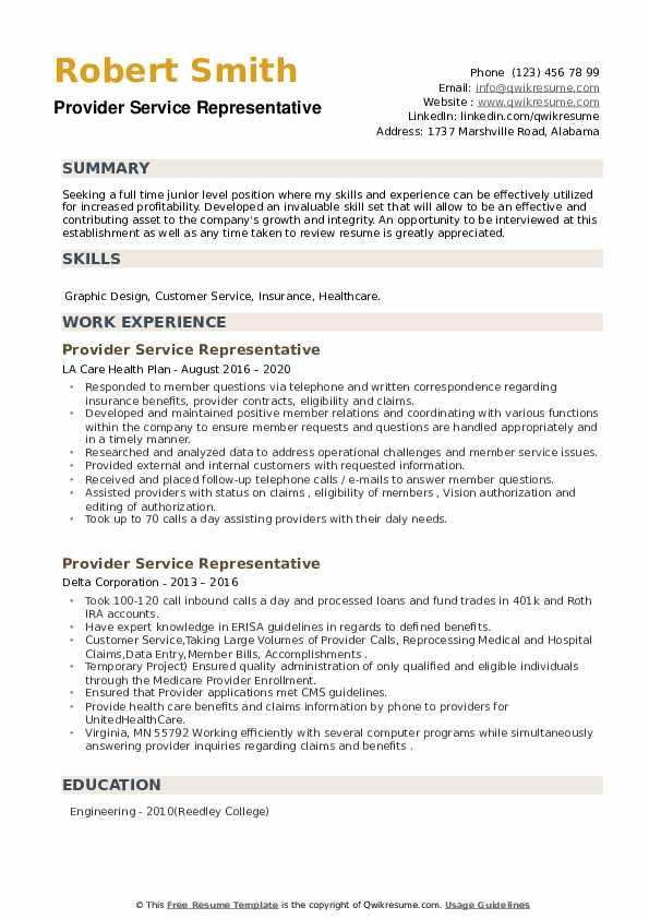 Provider Service Representative Resume example