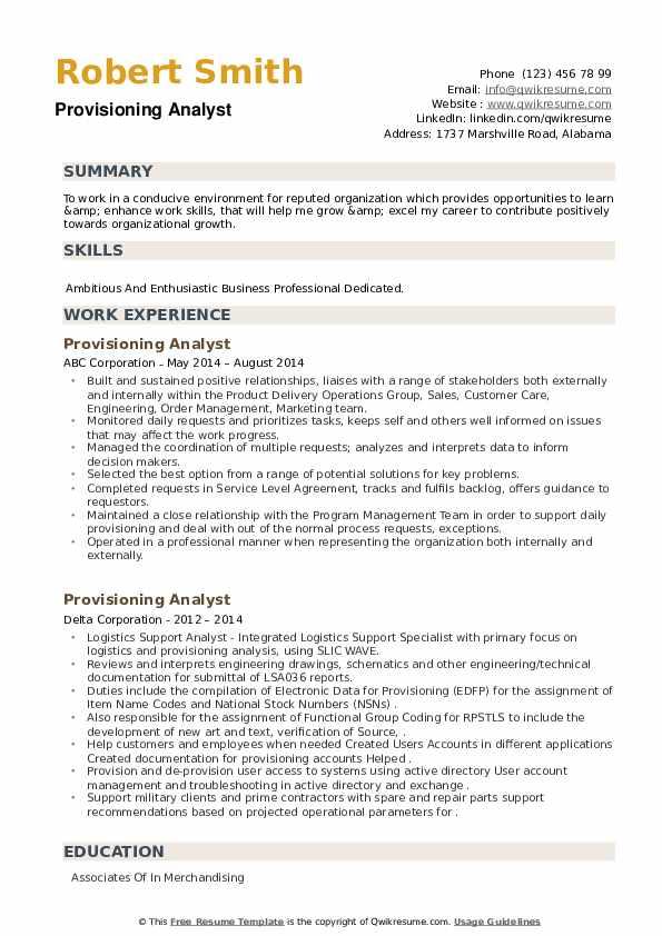 Provisioning Analyst Resume example
