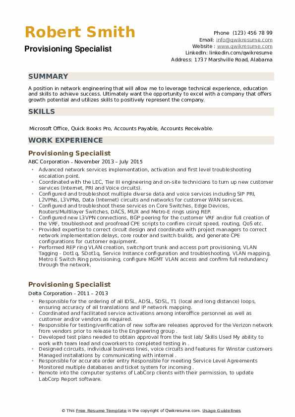 Provisioning Specialist Resume example