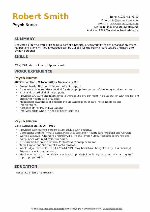 Psych Nurse Resume example
