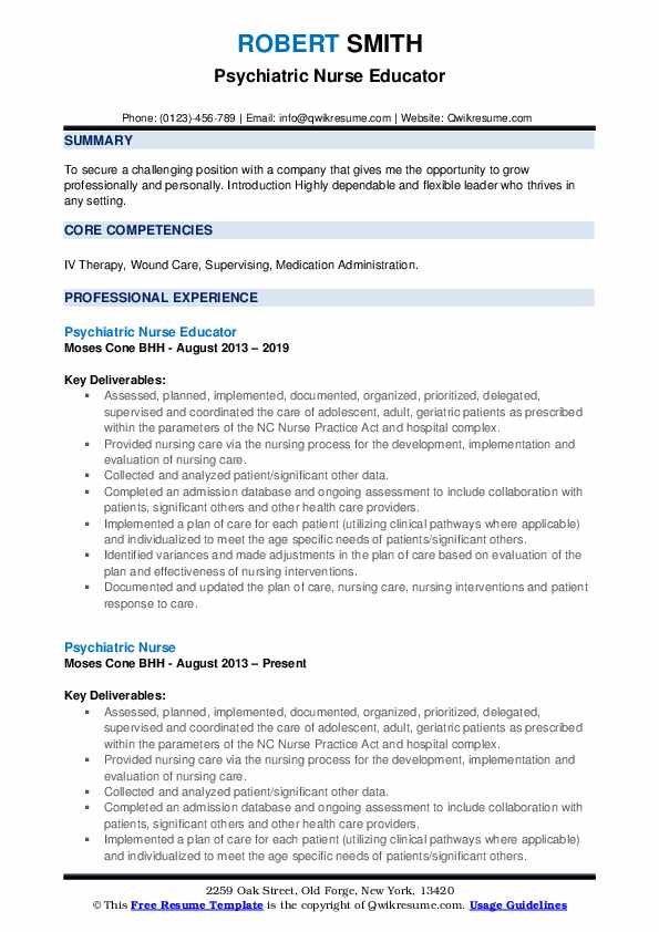 Psychiatric Nurse Resume Samples | QwikResume