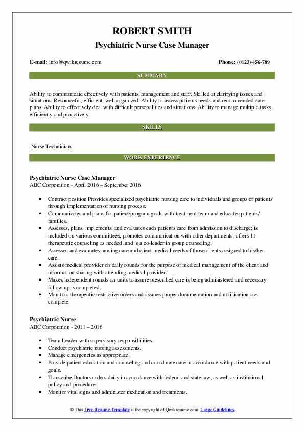psychiatric nurse resume samples