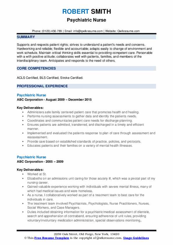 Psychiatric Nurse Resume Samples Qwikresume