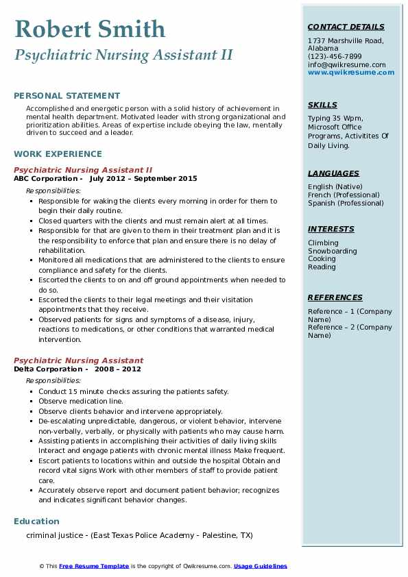 psychiatric nursing assistant resume samples