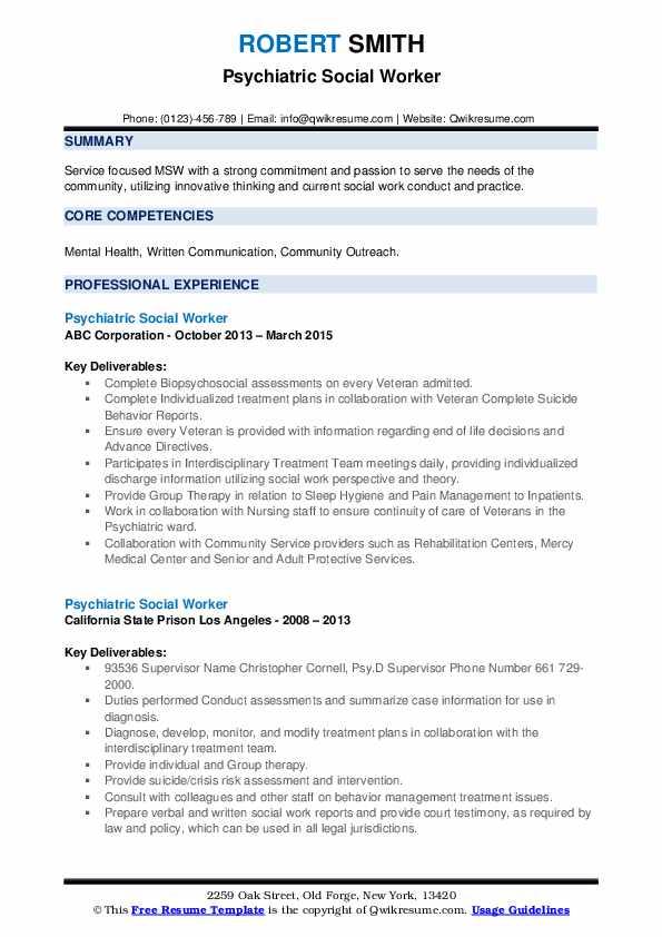 Psychiatric Social Worker Resume example