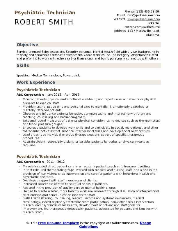 Psychiatric Technician Resume Sample