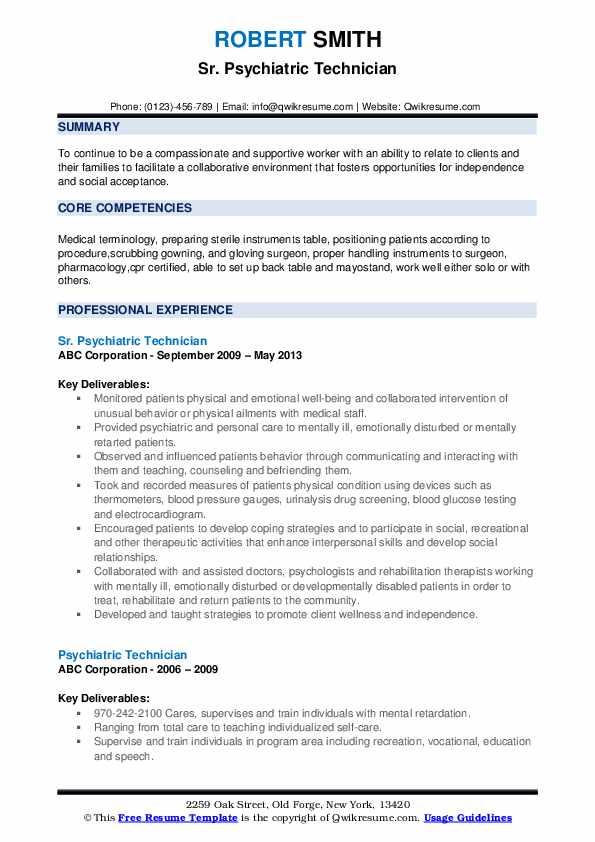 Sr. Psychiatric Technician Resume Example