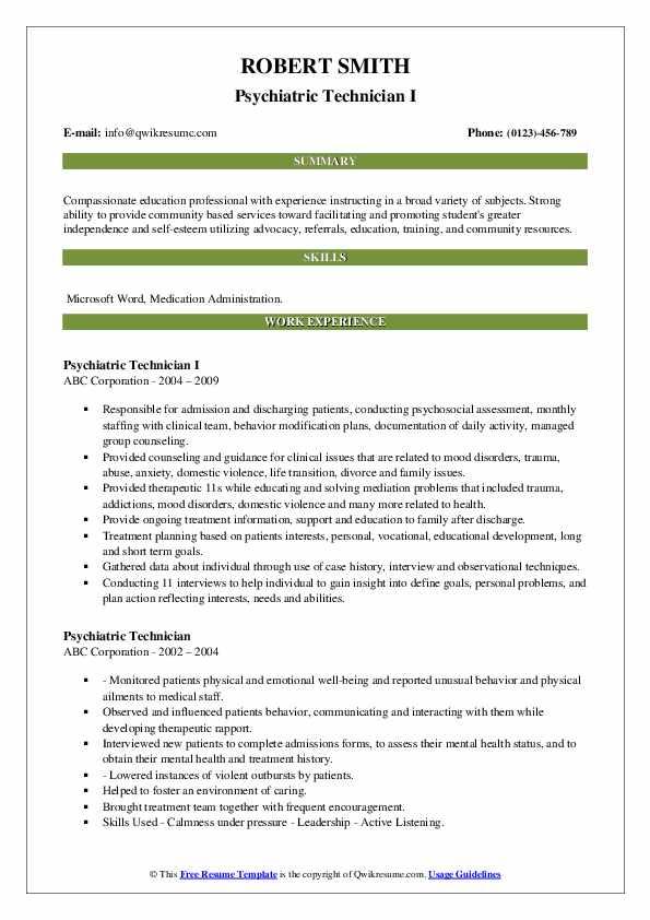 Psychiatric Technician I Resume Model