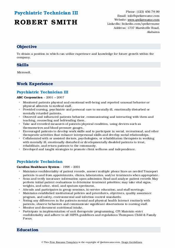 Psychiatric Technician III Resume Template