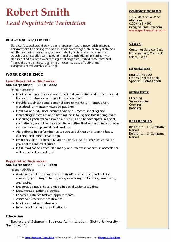 Lead Psychiatric Technician Resume Template