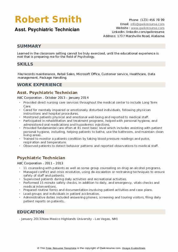 Asst. Psychiatric Technician Resume Sample