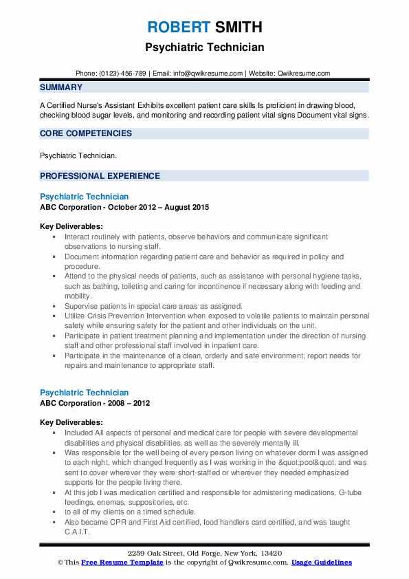 Psychiatric Technician Resume example