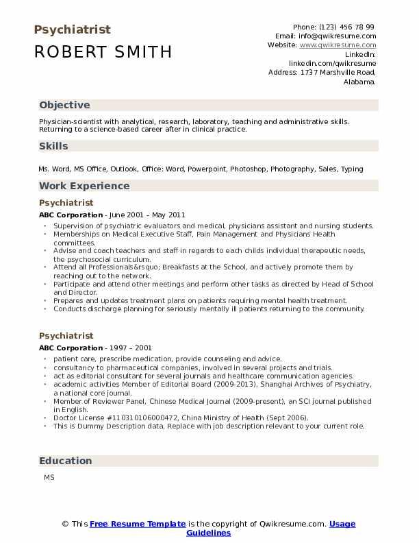Psychiatrist Resume example