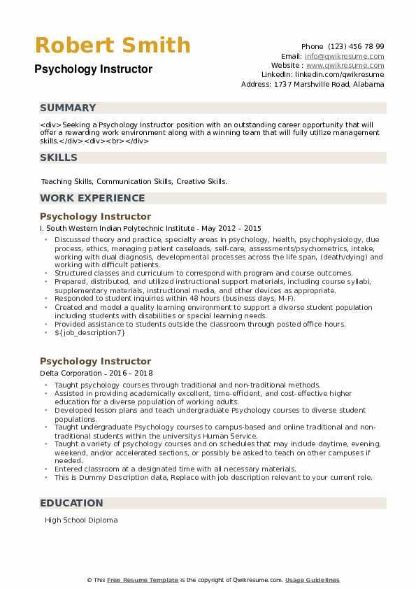 Psychology Instructor Resume example