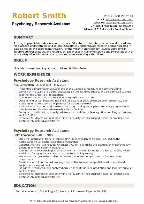Psychology Research Assistant Resume example