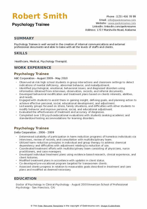 Psychology Trainee Resume example