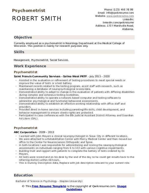psychometrist resume samples  qwikresume