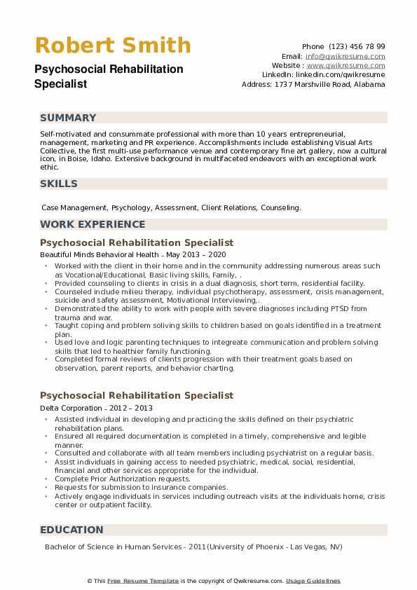 Psychosocial Rehabilitation Specialist Resume example