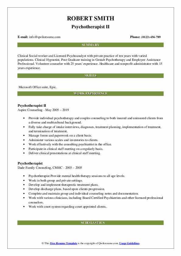 Psychotherapist II Resume Sample