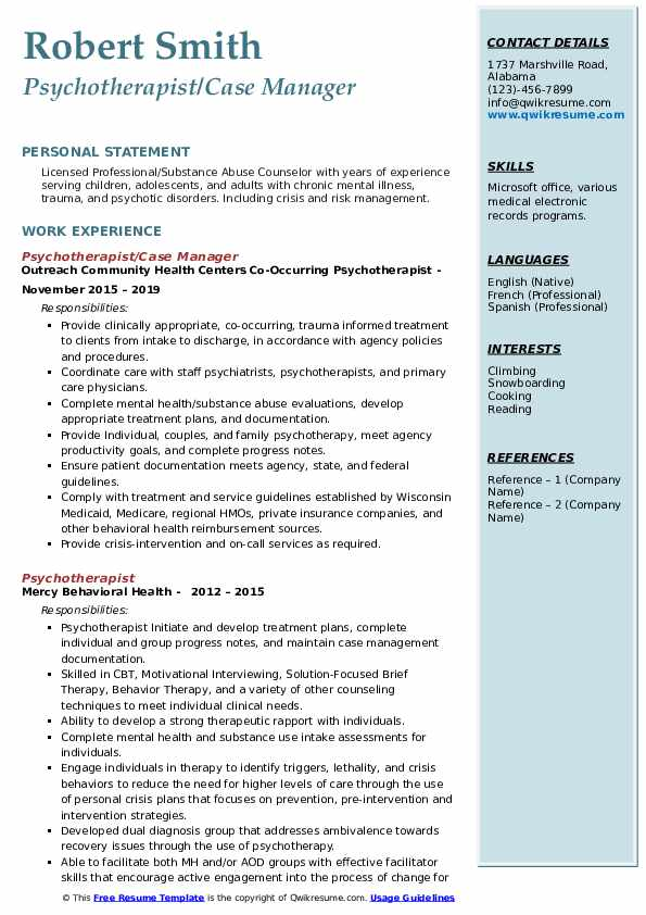 Psychotherapist/Case Manager Resume Format