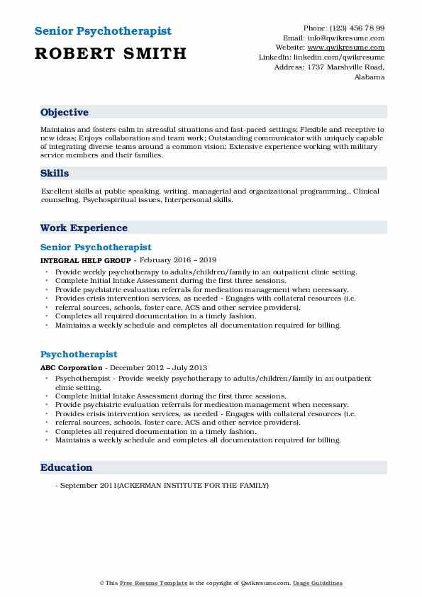 Senior Psychotherapist Resume Template