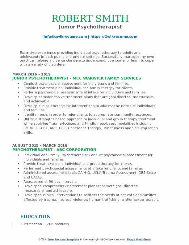 Junior Psychotherapist Resume Model