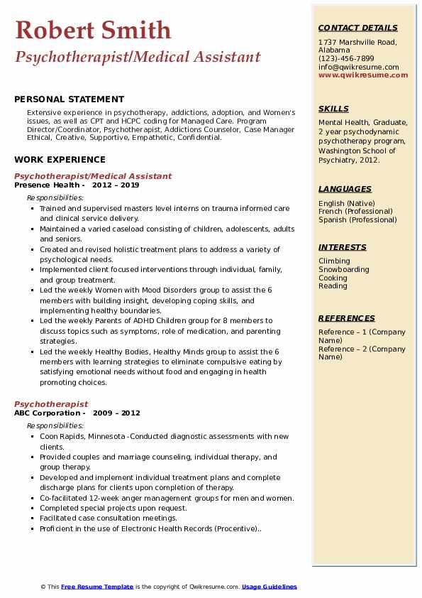 Psychotherapist/Medical Assistant  Resume Format
