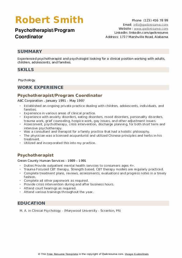Psychotherapist/Program Coordinator Resume Sample