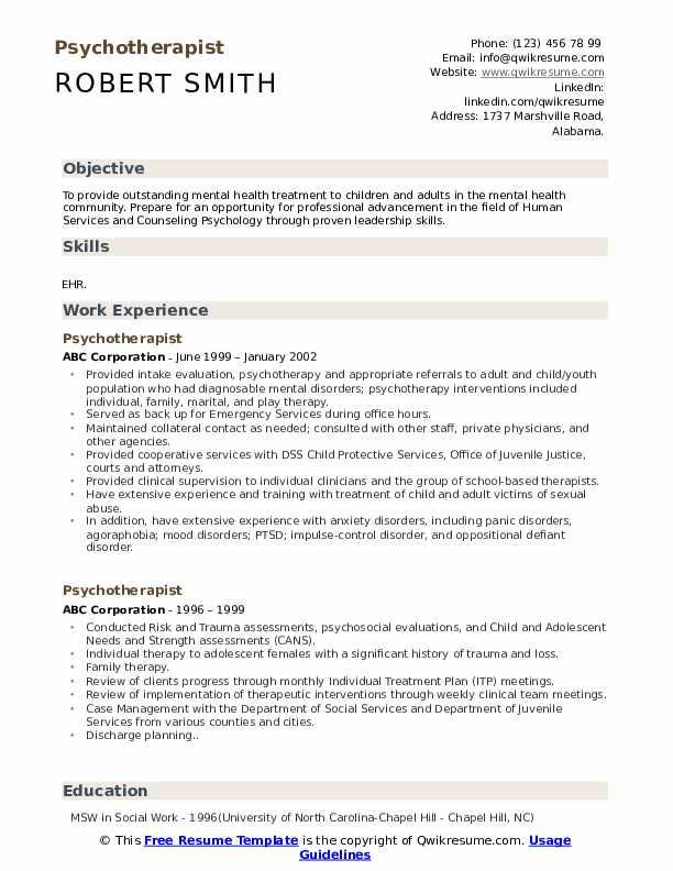 Psychotherapist Resume Model