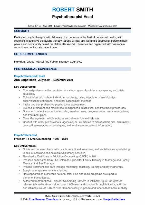 Psychotherapist Head Resume Model