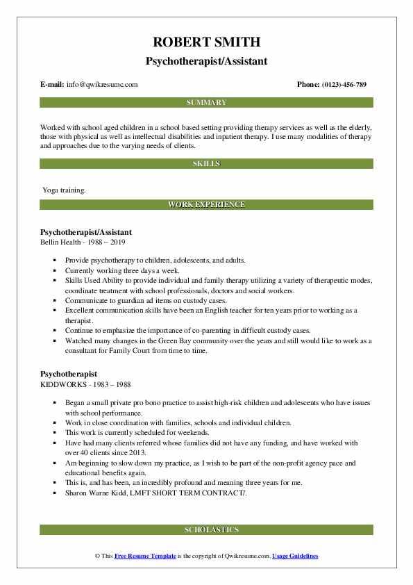 Psychotherapist/Assistant Resume Model