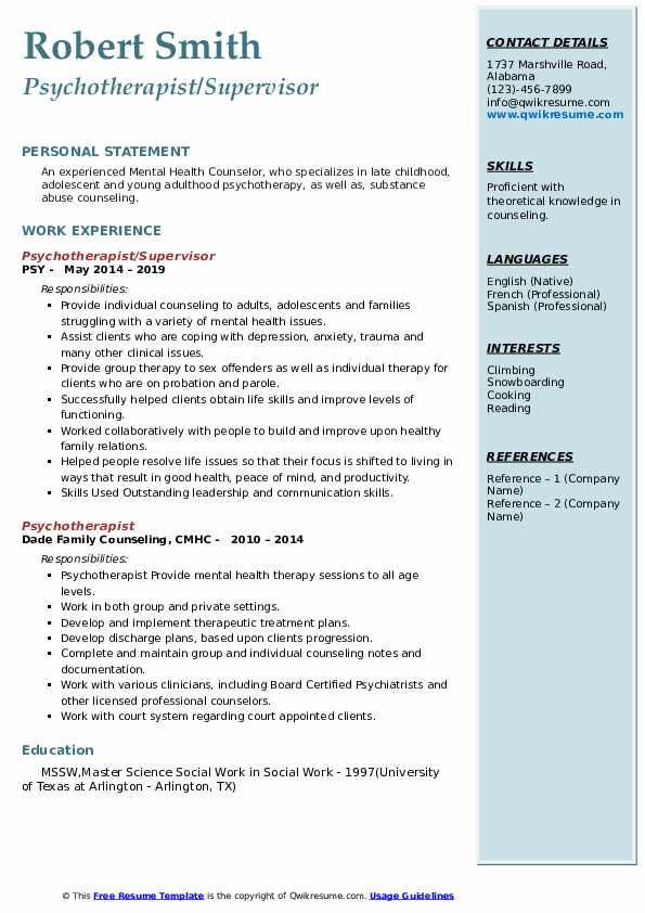 Psychotherapist/Supervisor Resume Sample