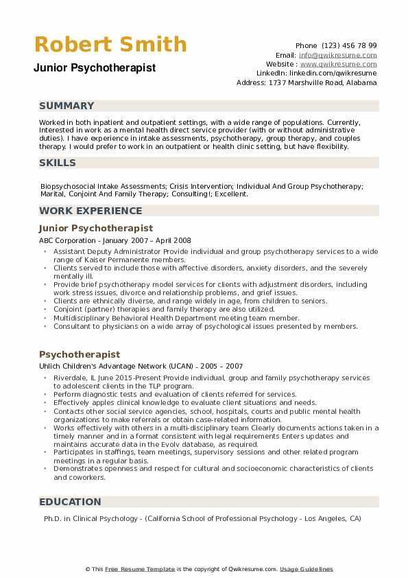 Junior Psychotherapist Resume Format